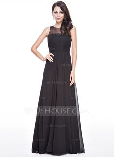 A-Line/Princess Scoop Neck Floor-Length Chiffon Evening Dress With Ruffle Beading Appliques Lace Sequins (017056500) - JJsHouse