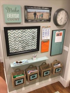 Get your family organized with a DIY command center! All you need is some wood a. - Get your family organized with a DIY command center! All you need is some wood and a small space on - Home Office Organization, Home Office Decor, Diy Home Decor, Organization Ideas, Bathroom Organization, Organization Station, Family Organization Wall, Office Desk, Office Paint