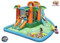 Kids Bouncy Castle, Castle Bounce House, Kids Water Slide, Water Slides, Happy Hop, Backyard Water Parks, Lake Rafts, Inflatable Water Park, Pool Toys