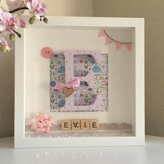 Baby Girl Gift / Little Girl Nursery Princess Personalised Monogram Box Frame wall decoration, pink with scrabble tiles