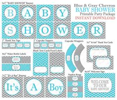 INSTANT DOWNLOAD Chevron Baby Shower Package Blue & Gray Printable It's A Boy Party Decorations on Etsy, $10.63 AUD