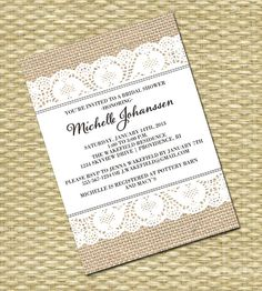 Rustic Country Bridal/Baby Shower, Wedding, Birthday Invitation - Burlap Thick Ribbon Lace Stitch - Any Colors on Etsy, $15.00
