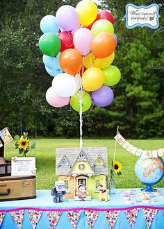 UP Party: Based on the popular movie UP, this birthday had lots of great food and decor. They even did an outdoor showing of the movie on a screen made from a white sheet.: