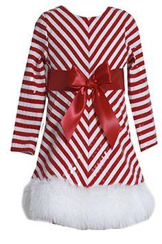 Bonnie Jean Girls Sequins Striped Holiday Christmas Santa Dress, Red, 4 - 16 #santadress | Womens Fashion Fair