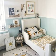 Ikea hack child's bed with play area and beautiful kids art on the walls. Ikea hack child's bed with play area and beautiful kids art on the walls. Boy Toddler Bedroom, Toddler Room Decor, Toddler Rooms, Boys Room Decor, Kids Bedroom, Bedroom Decor, Nursery Decor, Ikea Toddler Bed, Ikea Kids Bed
