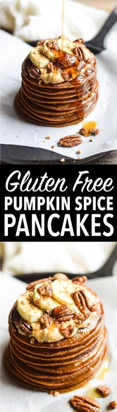 Dive into fall with a plate of fluffy pumpkin spice pancakes! Gluten Free, Dairy Free, Paleo-Friendly.