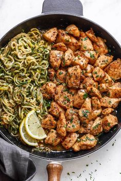 Garlic Butter Chicken Bites with Lemon Zucchini Noodles - They're so juicy, tender, and delicious you'll eat them hot right off the pan! Ready for a new chicken dinner winner?