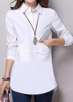 rotita.com - unsigned Pocket Solid White Turndown Collar Curved Blouse - AdoreWe.com