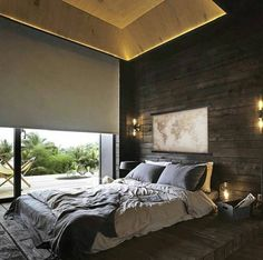 Beautiful Master Bedrooms with Modern Interior Decor - Everyone loves a nice cozy bedroom and who can blame them for it. We spent of our lifetime in bed and it will be nice if it had good modern decor. Interior Design Career, Modern Interior Design, Loft Design, House Design, Bedroom Wall, Bedroom Decor, Wall Decor, Cabin In The Woods, Suites