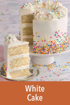 This moist, fluffy white cake recipe with creamy Swiss meringue buttercream is so easy to make you'll be whipping it up nonstop! 3 Layer White Cake Recipe, The Best White Cake Recipe Ever, Best Vanilla Cake Recipe, Meringue Cake, Swiss Meringue, Vanilla Sheet Cakes, 3 Layer Cakes, Birtday Cake, Vanilla Buttercream Frosting