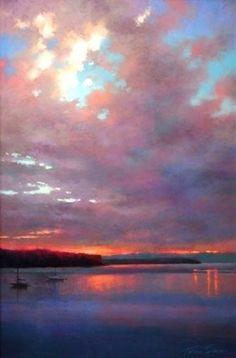 Dawn at Penn Cove by Teresa Saia. Pastel ~ 36 x 24