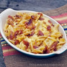 Mac n Cheese with Bacon Topping from She Cooks, He Cleans