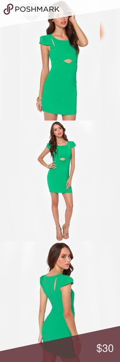 """LULUS EXCLUSIVE LILY POND LADY GREEN DRESS Lulus Exclusive! Take a rest in central park and let passersby admire the Lily Pond Lady Green Dress! An alluring shade of green textured woven fabric creates pleated cap sleeves that meet cute cutouts along the shoulders, joined by a central cutout at the waist. Fitted bodice glides into a fitted tube skirt. Hidden back zipper. Bodice is lined in green stretch knit. Model is 5'8"""" and is wearing a size small. 100% Polyester. Hand Wash Cold…"""