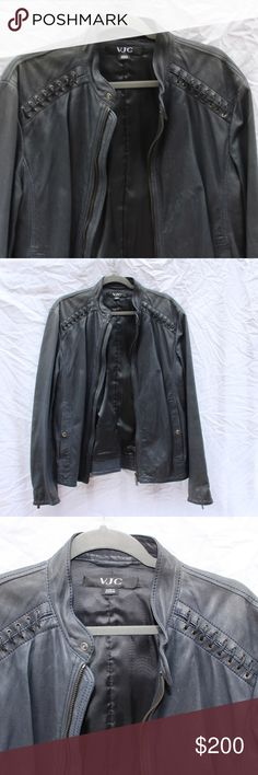 Men's Versace Jeans Collection 100% leather coat 100% genuine leather coat. Color is blue/grey. Leather looks better with wear. Nice stitch detailing on sleeves and shoulders. In great condition! Italian size is 52. Versace Jeans Collection Jackets & Coats