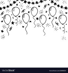 hand drawn doodle black and white balloon. design holiday greeting card and invi… Easy Butterfly Drawing, Easy Flower Drawings, Easy Disney Drawings, Pencil Drawings Of Flowers, Easy People Drawings, Easy Doodles Drawings, Simple Doodles, Cute Drawings, Happy Birthday Doodles