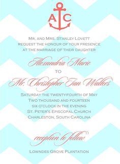 Turquoise and Coral Wedding Invitations | Aqua and Coral Wedding Invitation