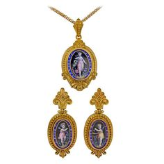 Victorian Enamel Gold Locket Earring Set | From a unique collection of vintage chain necklaces at https://www.1stdibs.com/jewelry/necklaces/chain-necklaces/
