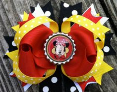 MINNIE MOUSE Hair Bow Boutique Style Spring / by PolkaDotzBowtique