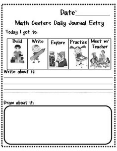 Here's a set of journal templates (4 different versions!) for use with math center activities.
