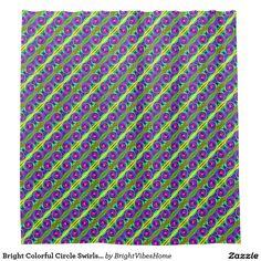 Bright Colorful Circle Swirls Pattern Shower Curtain