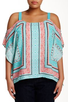 Printed Blouse and Necklace (Plus Size) by Want & Need on @nordstrom_rack