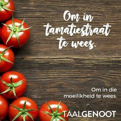 Om in tamatiestraat te wees Afrikaans Quotes, Idioms, Cool Words, Do Your Thing, Sayings