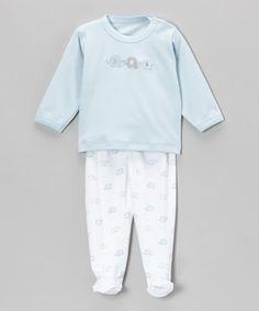 Take a look at this Blue Elephant Long-Sleeve Top & Footie Pants by Hug Me First on #zulily today!