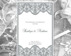 Wedding Program Template Deep Purple 100 Kaitlyn