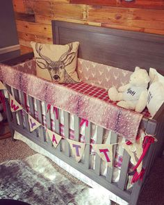 #ad Woodland Boy Crib Bedding Gray Buck Deer Skin Minky White - I love the rustic look of this baby boy bedding for the crib. It would go perfect in a rustic themed nursery or camping themed nursery - Red and tan wedding for nursery - Red plaid bedding