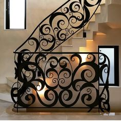 Staircase Railing Design, Iron Staircase, Stair Handrail, Tile Stairs, Metal Stairs, Gate Design, Door Design, House Design, Decorative Metal Screen