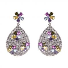 Pavè drop and multicolor flowers earrings Sparkling with white cubic zirconia and dotted with some colored flowers of different shape, incorporates itself the color of the rainbow. This sterling silver earring strikes a glamorous note in every look, and it's perfect for wearing day to night. Shop online: http://www.ultimaedizione.com/shop/en/earrings/404-pave-drop-and-multicolor-flowers-earrings.html