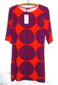 Marimekko Purple and Orange Kivet Dot Print 3/4 Sleeve Cotton Jersey Dress,Sz M #Marimekko #Shift #Casual