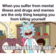 My memes are ironic my depression is chronic. Rick And Morty Meme, Ricky And Morty, Rick Riordan, Funny Memes, Hilarious, Dankest Memes, Wubba Lubba, Oh The Irony, Get Schwifty