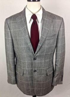 Jos A Bank Blazer 40 Gray Silk Linen Sport Coat Lightweight Jacket 40R Mens #JosABank #TwoButton