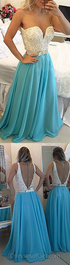 Scoop Neck Prom Dresses, Chiffon Prom Dress, Blue Evening Gowns, Long Party Dresses, Cheap Formal Dresses