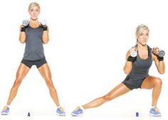 side lunge-10 Exercises For Smaller Waist, Big Hips and Flat Stomach