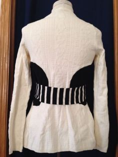 Anthropologie-Moth-Sweater-Womens-XS-Belted-Cardigan-Cream-Long-Sleeved-Small