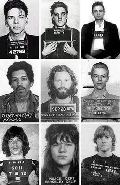 Frank Sinatra, Elvis Presley, Johnny Cash, Jimi Hendrix, Jim Morrison, David Bowie, Mick Jagger, Janis Joplin and Kurt Cobain