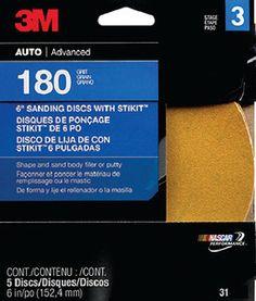 """3M 6"""" 180A GOLD STIKIT DISCS 5 per pack"""