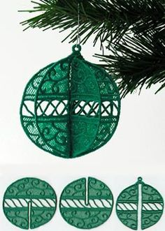 Christmas 3D Globe (Lace) || Machine Embroidery Designs at Embroidery Library! -