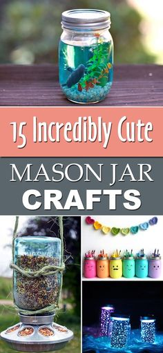 diytotry: 15 Incredibly Cute Mason Jar Crafts Upcycle all your leftover jars and try these crafts ift.tt/1YaoEfO