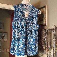 NWT Calvin Klein Top Water color effect of Teal blues and soft Grayson white background.  Brand new with tags. Calvin Klein Tops Blouses