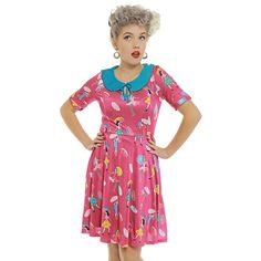 e5bb30347a52  Jayne  Magenta Weather Girls Print Tea Dress - from Lindy Bop UK