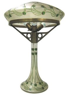 This fabulous Austrian Secessionist period brass lamp features a cameo glass pedestal and shade with olive motif. One of the finest lamps of its kind we have seen in over ten years. Unfortunately the lamps carries no hallmarks and the maker is unknown. Old Lamps, Antique Lamps, Antique Lighting, Vintage Lamps, Antique Art, Art Nouveau, Pewter Art, Jugendstil Design, Art Deco Lighting