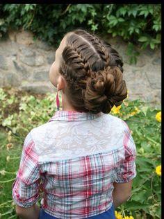 Trenzas francesas y recogido para niñas