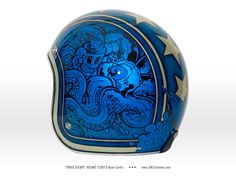Space Escape - Biltwell helmet painted by SIN Customs artist Ryan Curtis www.SIN-Customs.com