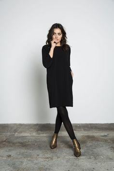 black sweater dress, leggings, bronze boots. △@BIBIJOUX