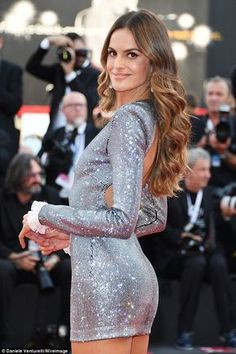 Wow factor: The Vogue coverstar, 33, revealed her toned figure in a sparkling, sequin studded silver mini dress Mini Dress Formal, Sequin Mini Dress, Sexy Dresses, Dress Outfits, Formal Dresses, Dress And Heels, Dress Shoes, Shoes Heels, Izabel Goulart