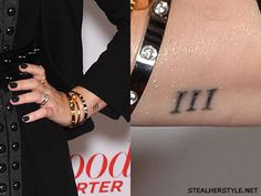 Demi Lovato Roman Numeral wrist tattoo