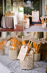 site is in French for a teacher themed wedding but these would also be great ideas for a back to school or graduation party